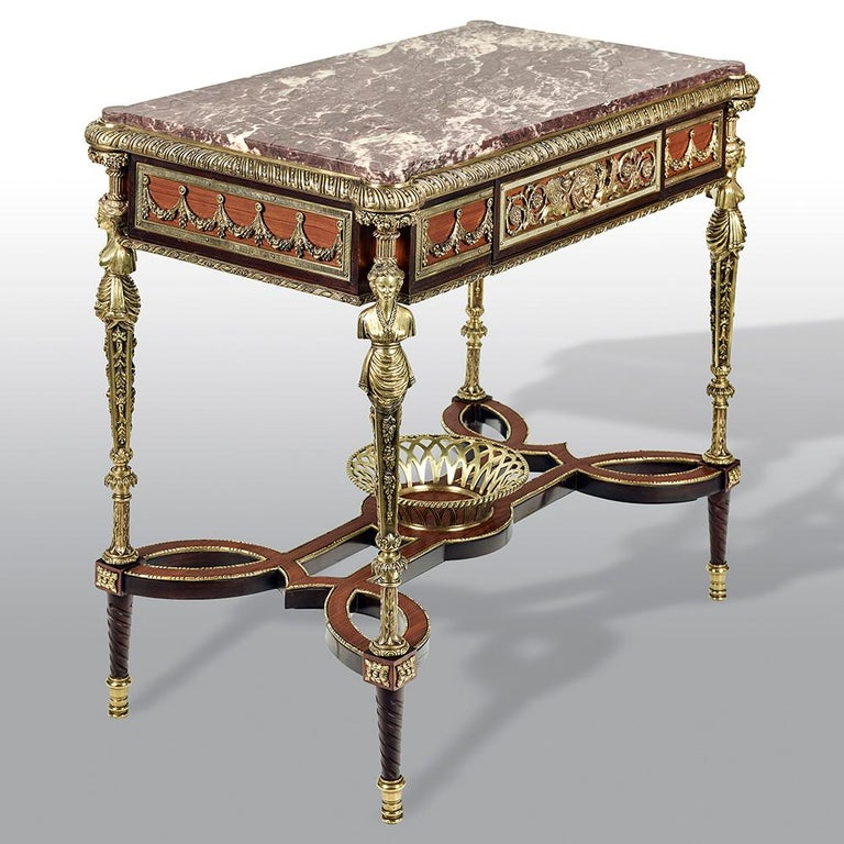 Bronze Pair of 19th Century French Ormolu-Mounted Mahogany Table De Milieu For Sale