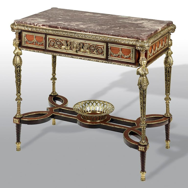 Pair of 19th Century French Ormolu-Mounted Mahogany Table De Milieu For Sale 1
