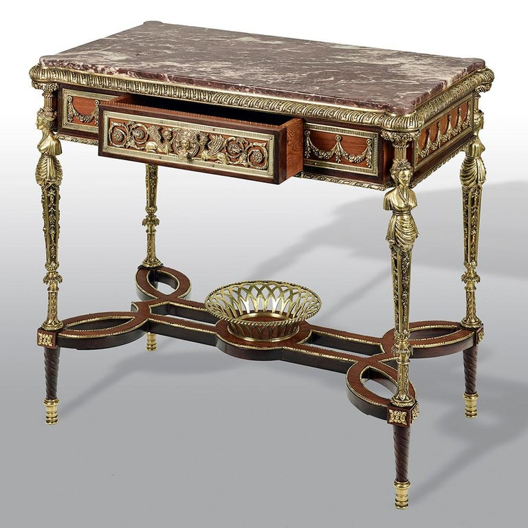 Pair of 19th Century French Ormolu-Mounted Mahogany Table De Milieu For Sale 2