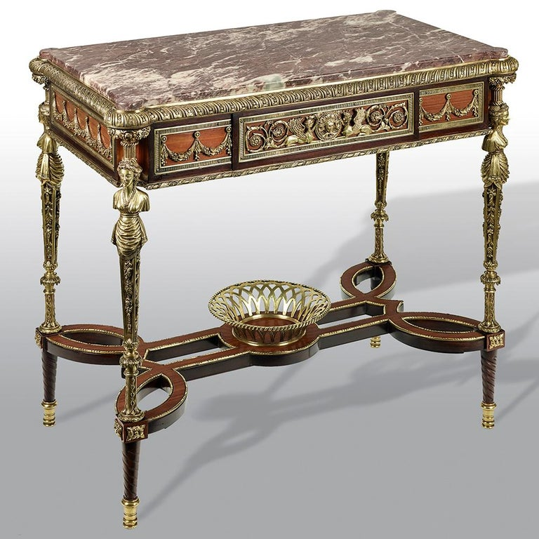 Pair of 19th Century French Ormolu-Mounted Mahogany Table De Milieu For Sale 4