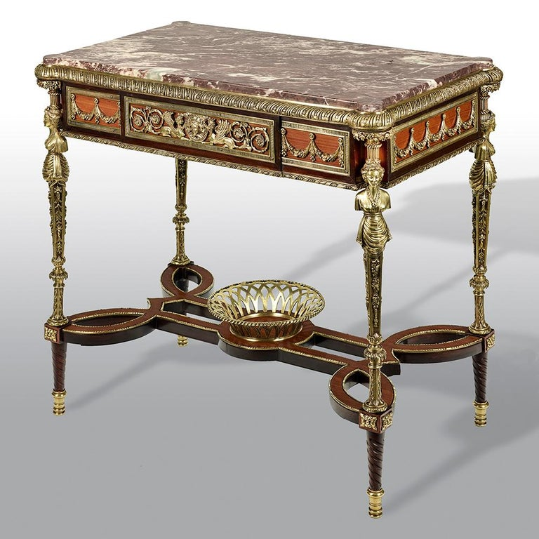 Pair of 19th Century French Ormolu-Mounted Mahogany Table De Milieu For Sale 5