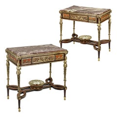 Pair of 19th Century French Ormolu-Mounted Mahogany Table De Milieu