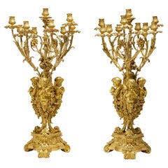 Important Pair of 19th Century French Ormolu Ten-Light Candelabra by H. Picard