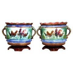 Pair of 19th Century French Painted Ceramic Barbotine Cache Pots with Chicken