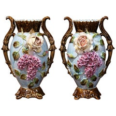 Pair of 19th Century French Painted Ceramic Barbotine Vases with Floral Motifs