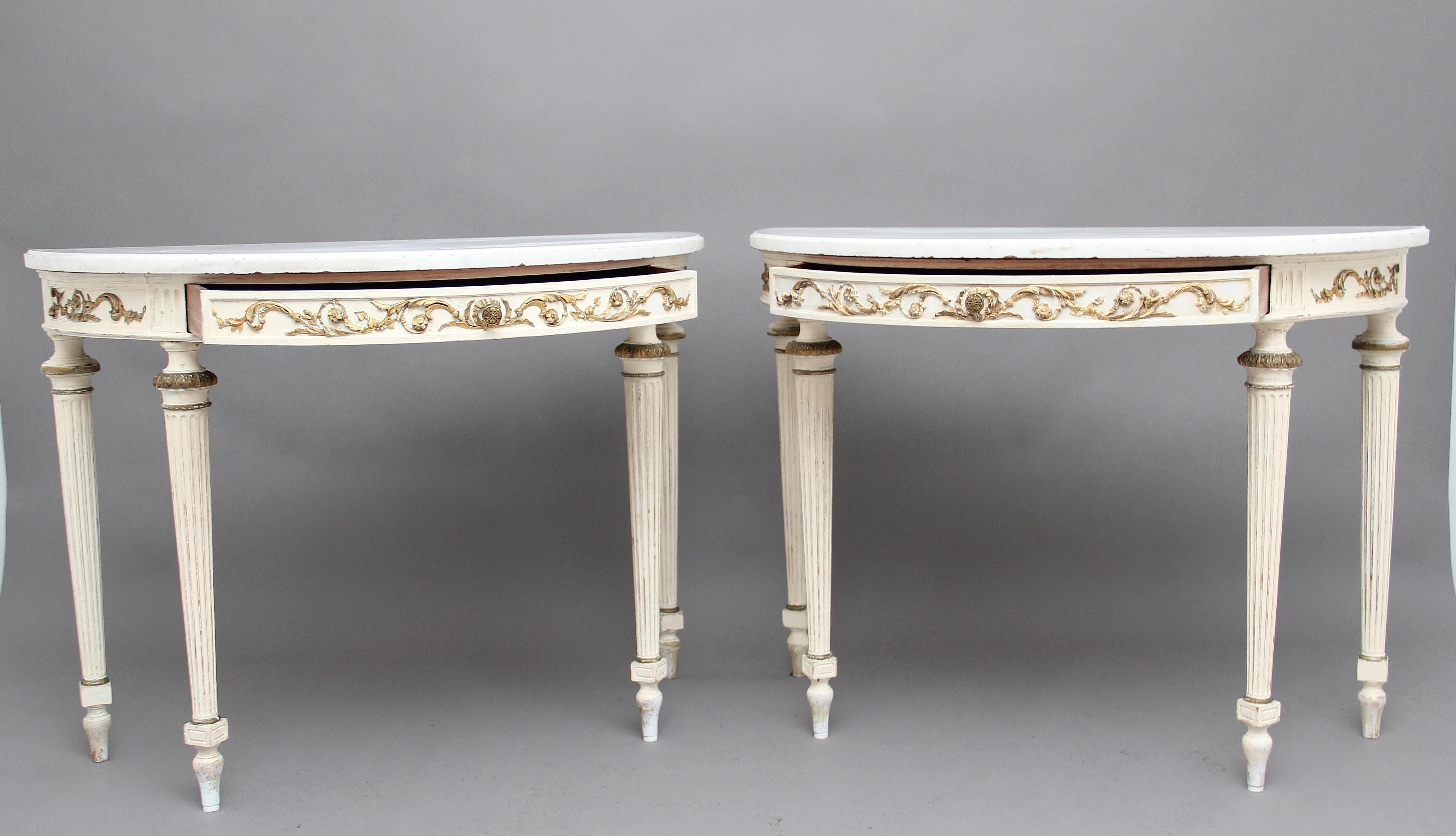 Pair Of 19th Century French Painted Console Tables With Original Marble Tops