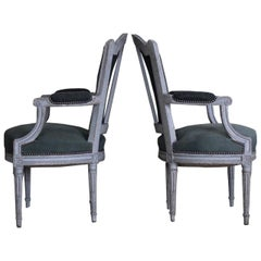 Pair of 19th Century French Painted Fauteuils