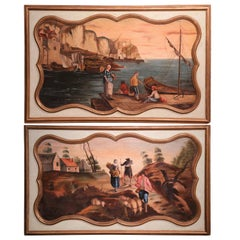 Pair of 19th Century French Painted Harbor and Pastoral Scenes Wall Panels
