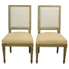 Pair of 19th Century French Painted Louis XVI Style Side Chairs