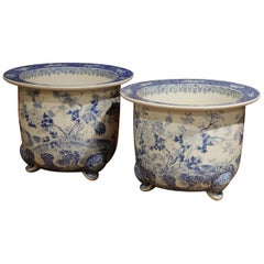 Pair of 19th Century French Painted Porcelain Cache Pots with Flowers and Birds