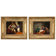 Pair of 19th Century French Painted Porcelain Paintings in Carved Gilt Frames