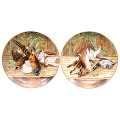 Pair of 19th Century French Painted Porcelain Wall Platters with Hunt Motifs