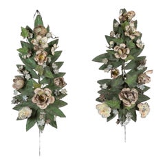Pair of 19th Century French Painted Tole Floral Hangings