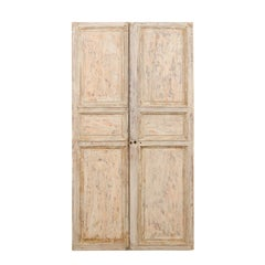 Pair of 19th Century French Painted Wood Doors with Lovely Cream Colored Finish