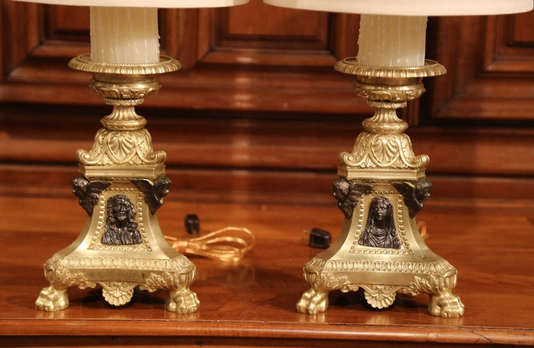 Baroque Pair of 19th Century French Two-Tone Bronze Candlesticks Made into Table Lamps For Sale