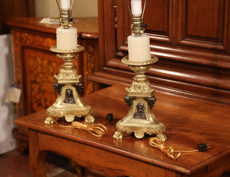 Pair of 19th Century French Two-Tone Bronze Candlesticks Made into Table Lamps For Sale 2