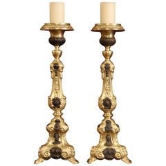 Pair of 19th Century French Patinated Two-Tone Repousse Brass Pic-Cierges