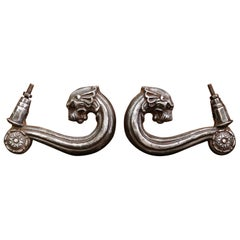 Pair of 19th Century French Polished Iron Front Door Knockers with Lion Figures