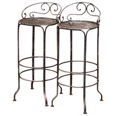 Pair of 19th Century French Polished Wrought Iron Outdoor Garden Bar Stools