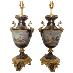 Pair of 19th Century French Porcelain and Ormolu Lamps