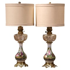 Pair of 19th Century French Porcelain, Bronze, Brass and Cut Glass Table Lamps