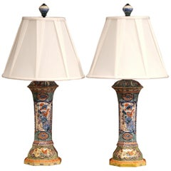 Pair of 19th Century French Porcelain Hand Painted Vases Fitted into Table Lamps