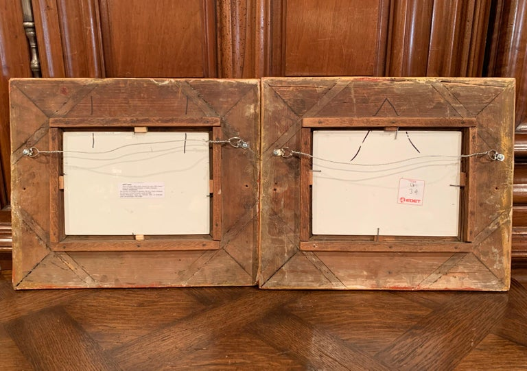Pair of 19th Century French Porcelain Plaques in Gilt Frames Signed L. Levy For Sale 6