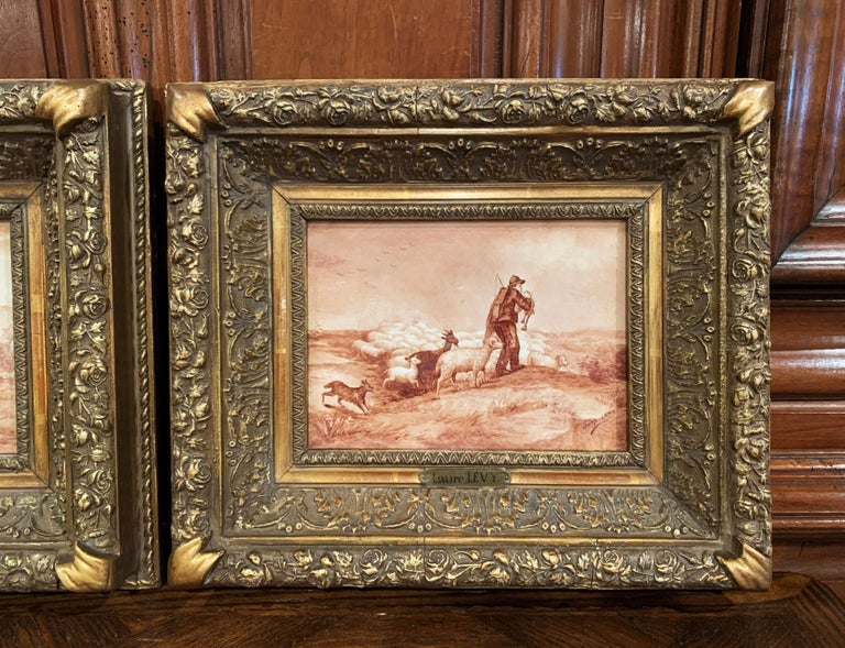 Pair of 19th Century French Porcelain Plaques in Gilt Frames Signed L. Levy In Excellent Condition For Sale In Dallas, TX