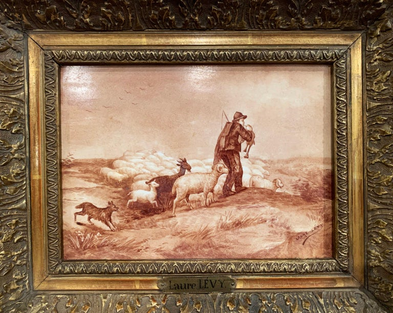 Pair of 19th Century French Porcelain Plaques in Gilt Frames Signed L. Levy For Sale 1