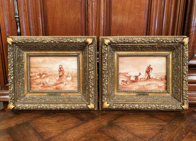 Pair of 19th Century French Porcelain Plaques in Gilt Frames Signed L. Levy For Sale 2