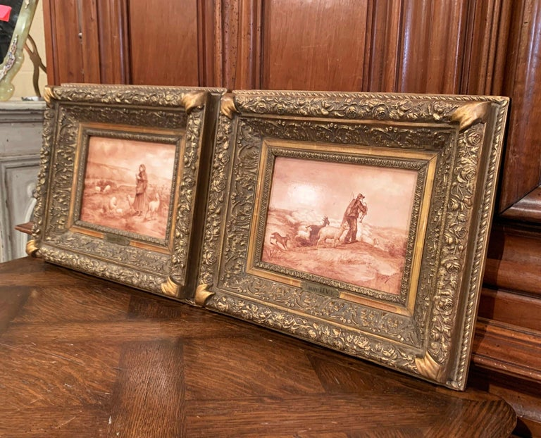 Pair of 19th Century French Porcelain Plaques in Gilt Frames Signed L. Levy For Sale 5