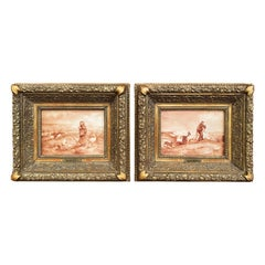 Pair of 19th Century French Porcelain Plaques in Gilt Frames Signed L. Levy