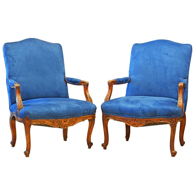 Pair of 19th Century French Provincial Carved Walnut Open Armchairs For Sale