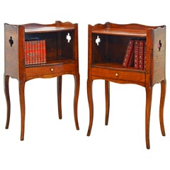 Pair of 19th Century French Provincial Walnut One-Drawer Side Tables or Stands