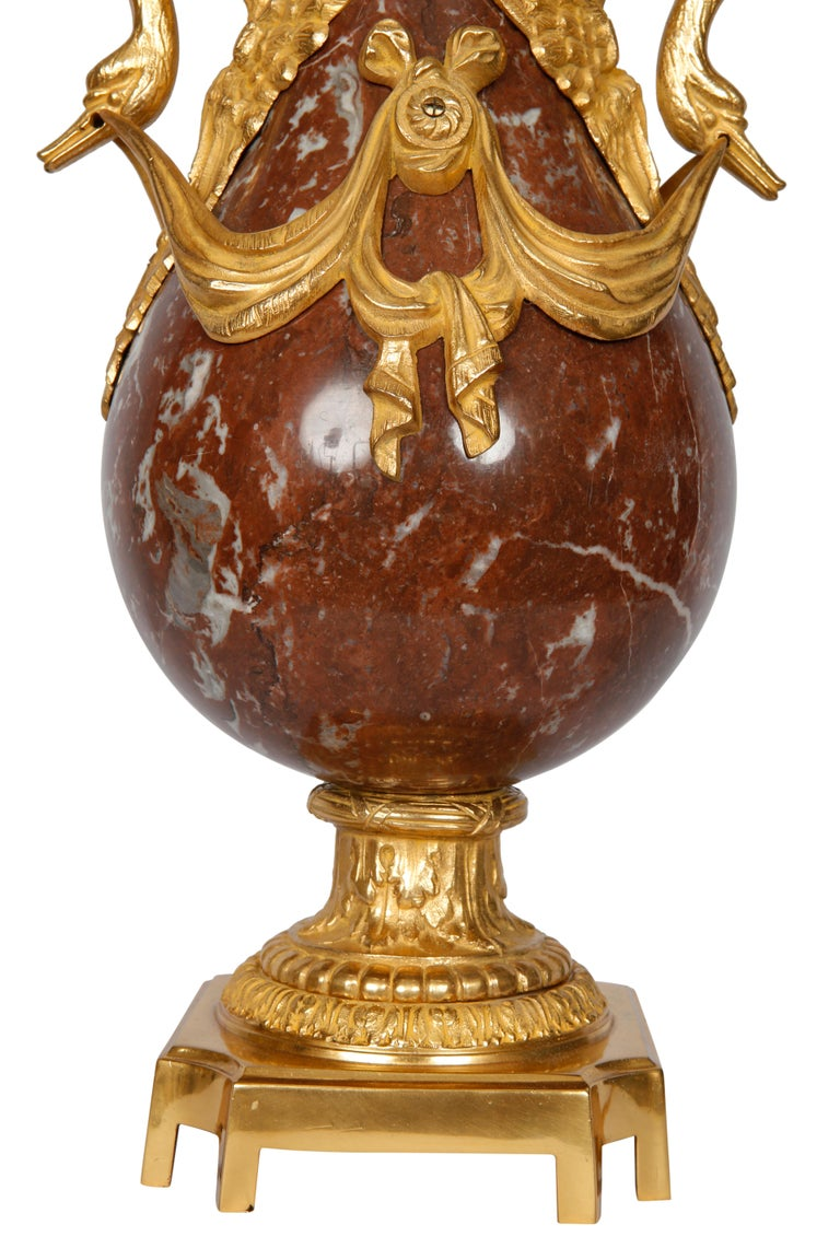 Pair of 19th Century French Red Marble and Bronze Cassolettes Table Lamps In Excellent Condition For Sale In London, GB