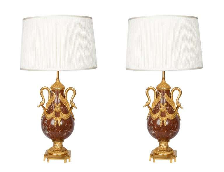 Pair of 19th Century French Red Marble and Bronze Cassolettes Table Lamps For Sale 2