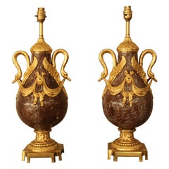 Pair of 19th Century French Red Marble and Bronze Cassolettes Table Lamps
