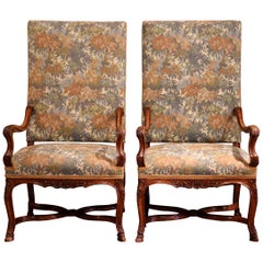 Pair of 19th Century French Regence Carved Walnut Armchairs with Upholstery