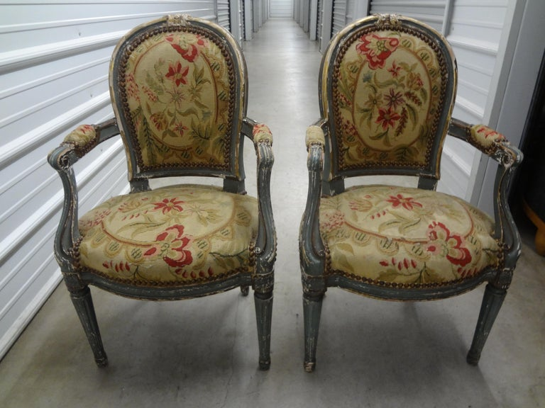 Pair of 19th Century French Régence Style Children's Chairs For Sale 12