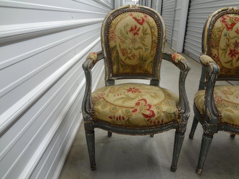 Needlepoint Pair of 19th Century French Régence Style Children's Chairs For Sale