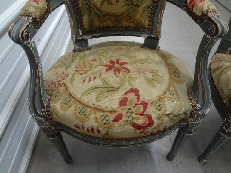 Tapestry Pair of 19th Century French Régence Style Children's Chairs For Sale