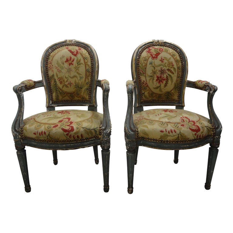 Pair of 19th Century French Régence Style Children's Chairs For Sale