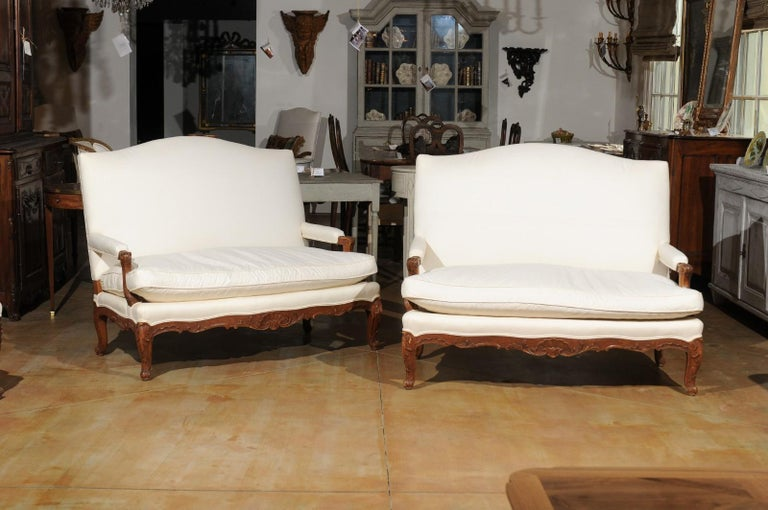 Pair of 19th Century French Régence Style Upholstered Canapés with Cabriole Legs In Good Condition For Sale In Atlanta, GA