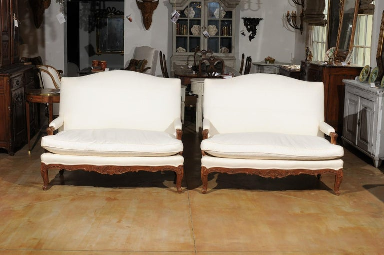 Upholstery Pair of 19th Century French Régence Style Upholstered Canapés with Cabriole Legs For Sale