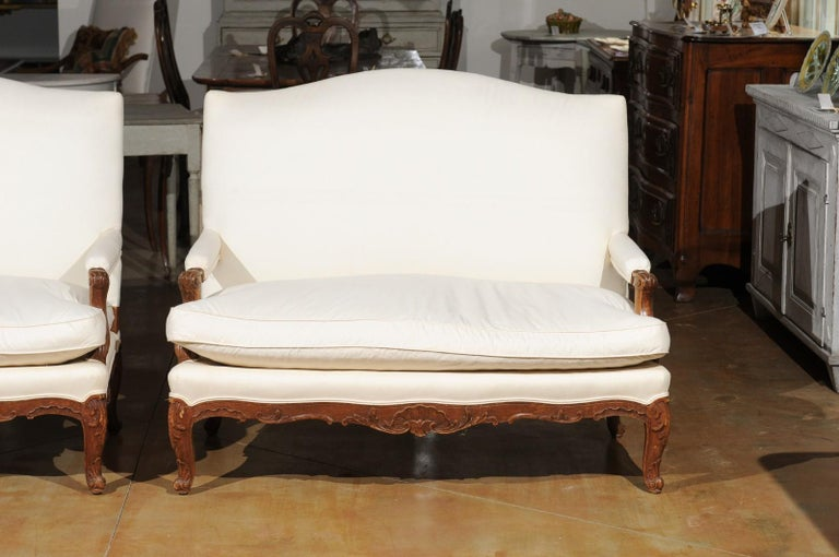 Pair of 19th Century French Régence Style Upholstered Canapés with Cabriole Legs For Sale 2