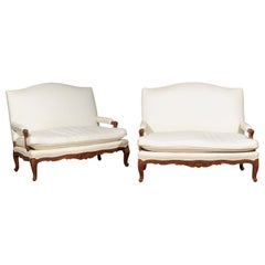 Pair of 19th Century French Régence Style Upholstered Canapés with Cabriole Legs
