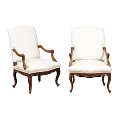 Pair of 19th Century French Régence Style Walnut Fauteuils with Upholstery