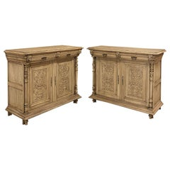 Pair of 19th Century French Renaissance Stripped Oak Buffets