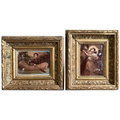 Pair of 19th Century French Reverse Glass Paintings in Carved Gilt Frames