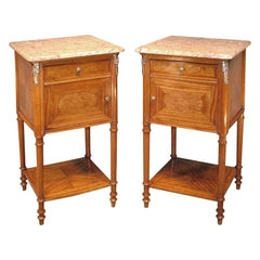 Pair of 19th Century French Satinwood and Marble Bedside Cabinets
